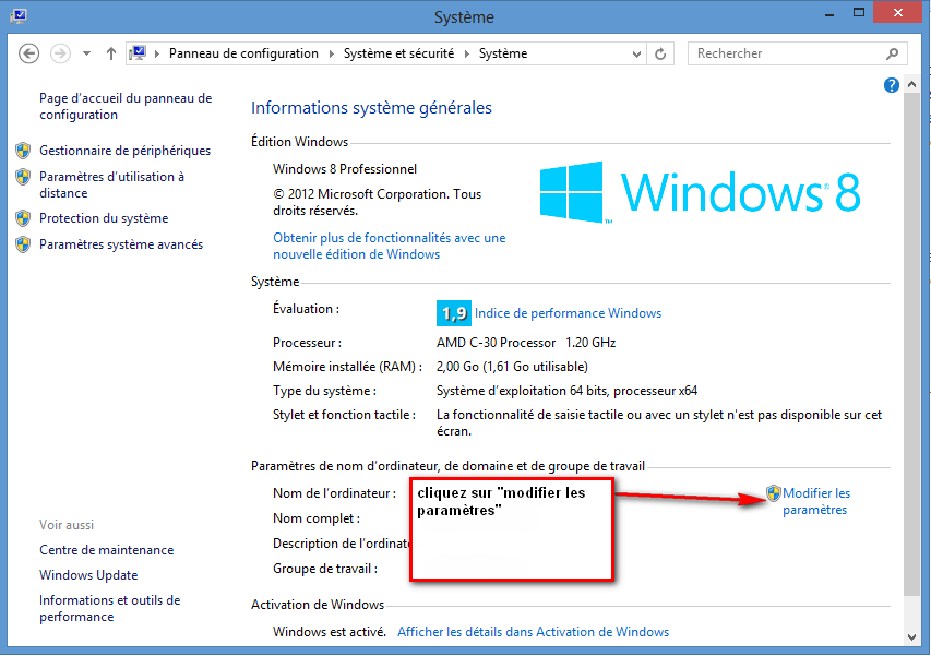 panneau de configuration Windows 8